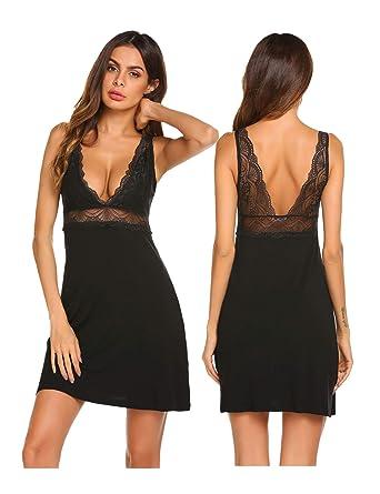 Ekouaer Sexy Lace Modal Sleepwear Chemises V-Neck Full Slip Babydoll  Nightgown for Women 15b17c71f