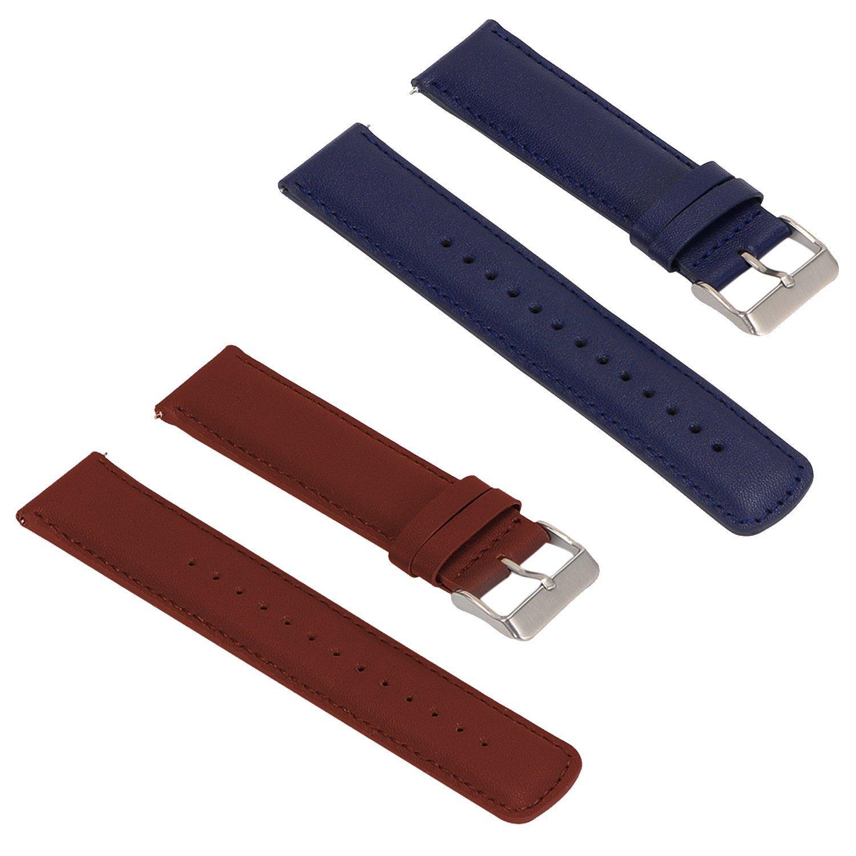 2pcs交換用レザーバンドLG G Watch Urbaneのみ  Brown+Blue B074JCG581