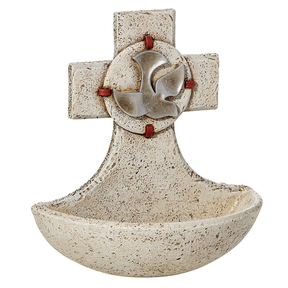 Catholic Confirmation Holy Spirit Resin Cross Holy Water Font, 5 Inch