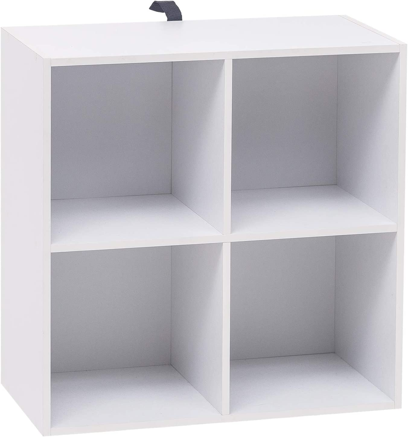 WOLTU Bookcase,White Bookshelf 4 Storage Cubes Shelves Units, Wooden Cube Units Bookcases for Bedroom,Living Room,Kids Room