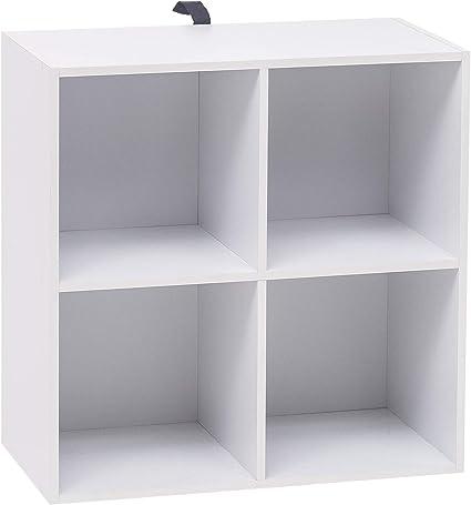 WOLTU Estantería para Libros Estantería de Exposición Estantería de Pared con MDF, Blanco, Estante para Oficina Gabinete para Archivos, 4 ...
