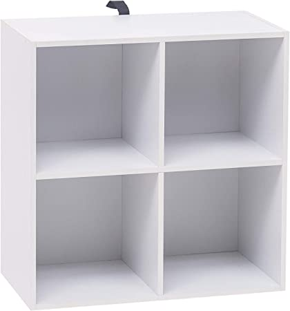 WOLTU Estantería para Libros Estantería de Exposición Estantería de Pared con MDF, Blanco, Estante para Oficina Gabinete para Archivos, 4 Compartimentos, 60x30x60cm SK002ws2: Amazon.es: Hogar