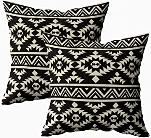 TOMKEY Cover Pillow Case, 2 Packs Hidden Zippered 18X18Inch Ethnic Pattern Decorative Throw Cotton Pillow Case Cushion Cover for Home Decor