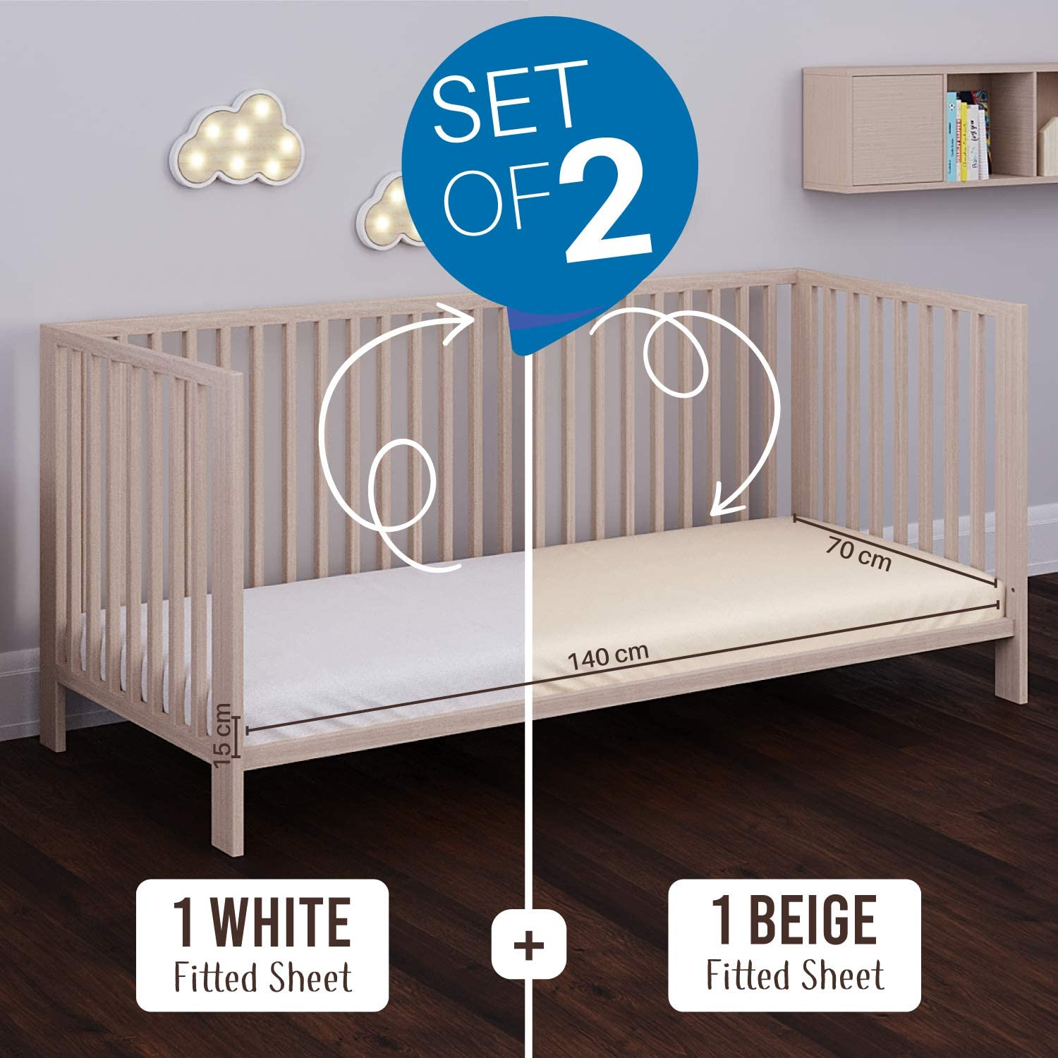 OEKO TEX Certified Free from Chemical Products Pocket 12 cm White and Beige for Baby Bed Fitted Sheets with Elastic For 70 x 140 cm Mattresses Set of 2 Jersey Cotton Fitted Sheets 70x140cm