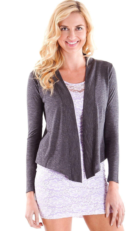 Clothes Effect Women's Hacci Slub Long Sleeve Hi-Low Hem Cardigan