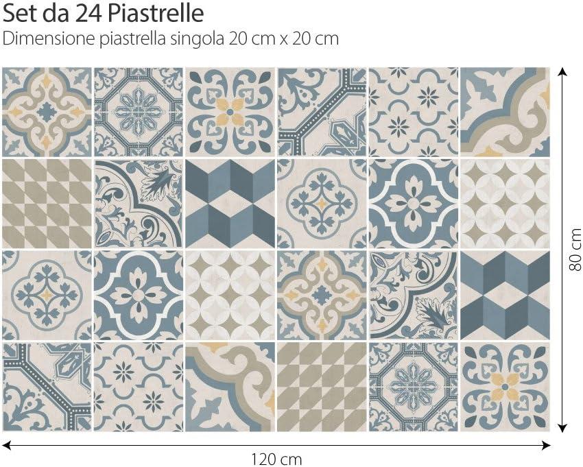 Adhesivo Decorativo para Azulejos para ba/ño y Cocina Piezas PS00086 Adhesivo para Azulejos 20x20 cm Stickers Azulejos Collage de Azulejos 24 Agadir