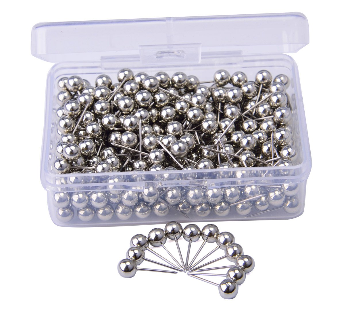 JoyFamily Map Tacks Push Pins, with 1/ 5 Inch Round Plastic Head and Steel Point, 300 PCS (Silver)