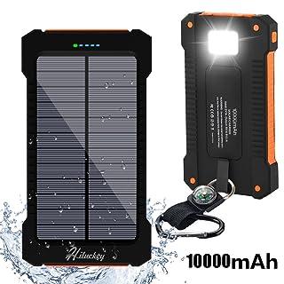 Cargador Solar 10000mAh, Hiluckey Batería Externa Solar Banco de energía Power Bank Doble Puerto USB con LED, Solar Charger Portátil Compatible iphone6 Android-teléfonos móviles,Smartphone(a prueba de golpes a prueba de polvo a prueba de agua)