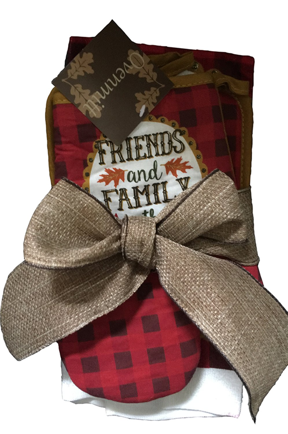 Gift Bundle of Kitchen Towel Hot Pad /& Oven Mitt Friends and Family Gather Here