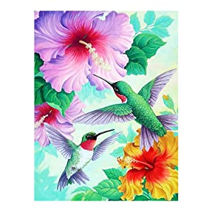 "Spring Hummingbirds Hibiscus Flowers Summer Welcome Double Sided Garden Yard Flag 12"" x 18"", Hello Spring Summer Birds Tropical Flowers Lily Floral Decorative Garden Flag Banner for Outdoor Home"