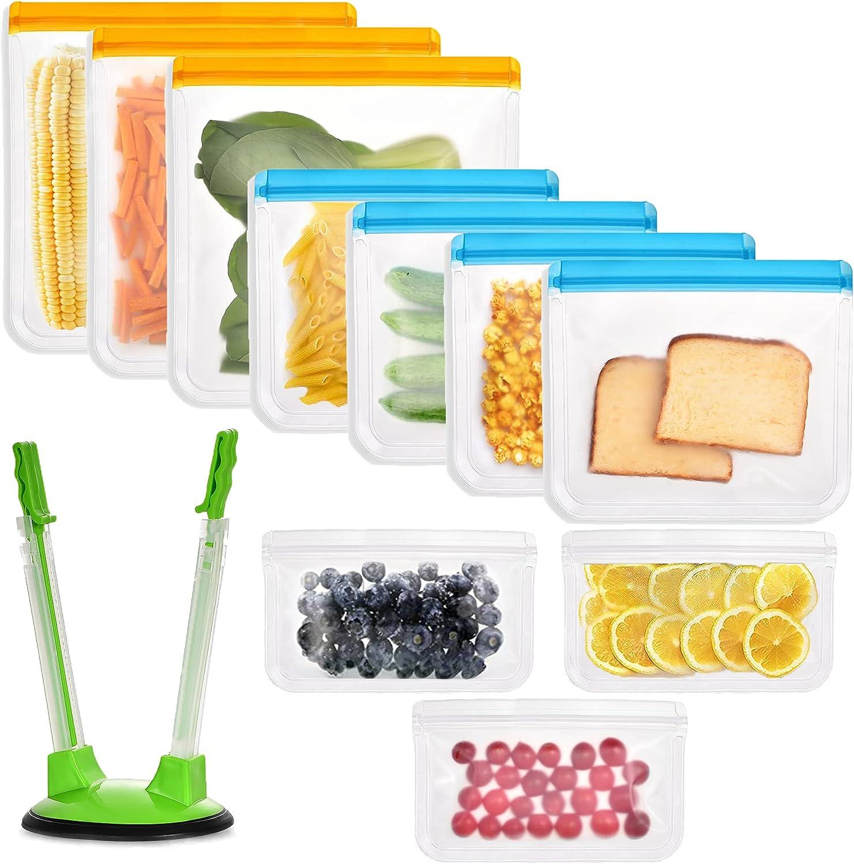 Reusable Food Storage Bags 10 Pack BPA-Free Freezer Bags 3 Reusable Gallon Bags + 4 Reusable Sandwich Bags + 3 Snack Bags + Ziplock Bag Holder,Extra Thick Leak Proof Sealed Lunch Bag