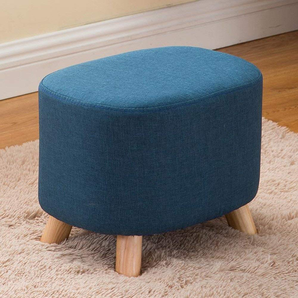 Dark bluee SBBD Chair-shoes shoes Fashion shoes Stool Square Stool Removable and Washable Fabric Stool Sofa Stool Solid Wood Stool Home Convenient