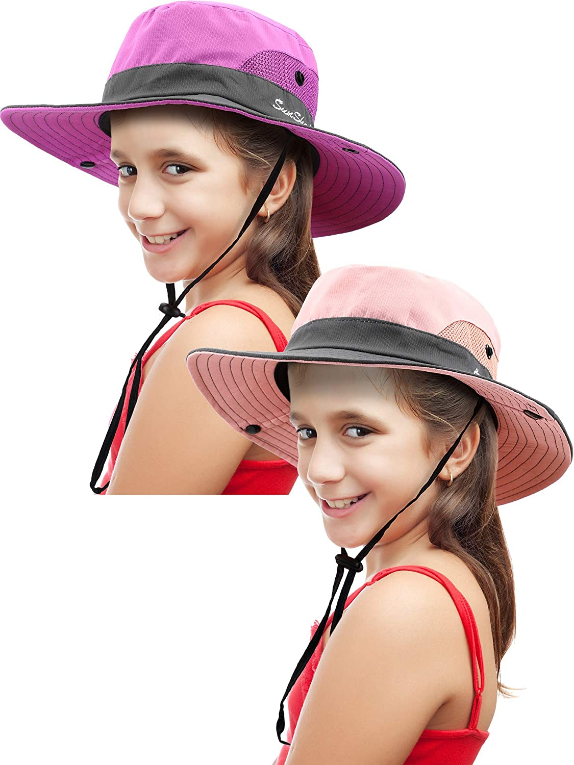 2 Pieces Kids Summer Sun Hat Broad-Brimmed Beach Cap Sun Protection Bucket Hat with Ponytail Hole