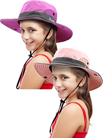 Kids Summer Sun Hat Broad-Brimmed Beach Cap Sun Protection Bucket Hat with Ponytail Hole