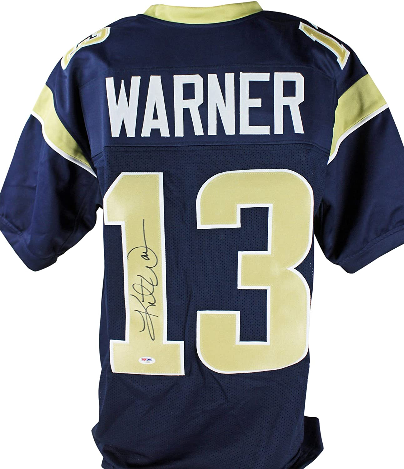 new concept 63b49 a669b Rams Kurt Warner Authentic Signed Navy Blue Jersey Autographed PSA/DNA
