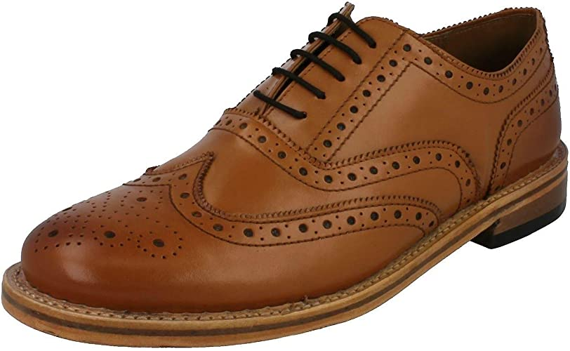 Mens Leather TAN Brogue Office Casual