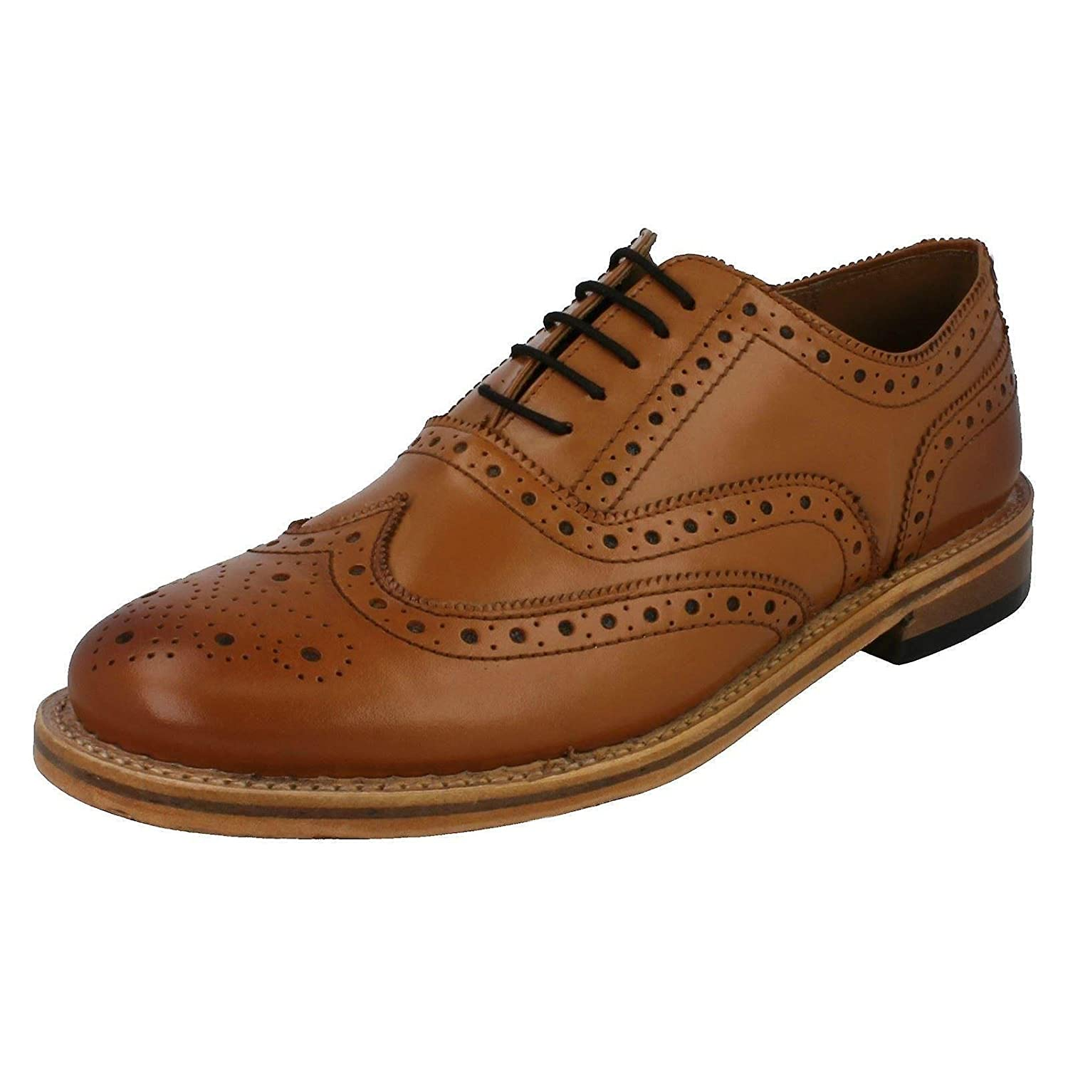 MENS LEATHER TAN BROGUE OFFICE CASUAL SMART LACE UP FORMAL PARTY SHOES SIZE  6-12  Amazon.co.uk  Shoes   Bags 533272faa