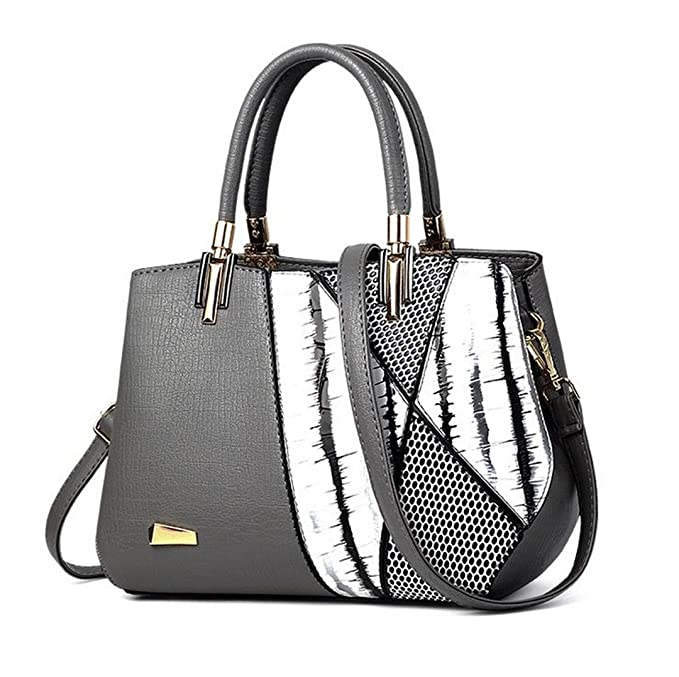 Serpiente moda Bolso Bolsa de Dama Sra. lujo tote Patchwork bolso de cuero gris claro 30cmx14cmx22cm.: Amazon.es: Ropa y accesorios