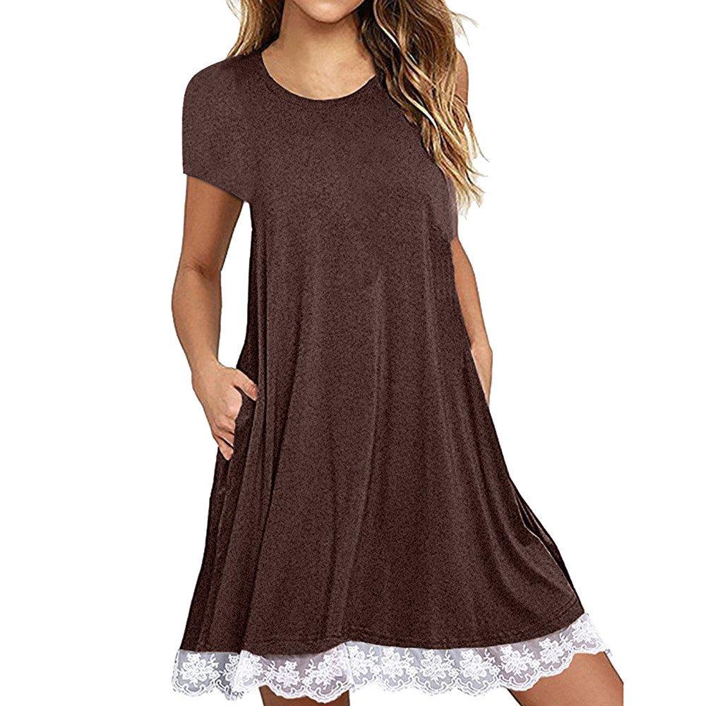 Womens Dress Summer O-Neck Boho Sleeveless Floral Printed Beach Mini Dress Casual T-Shirt Short Dress Coffee