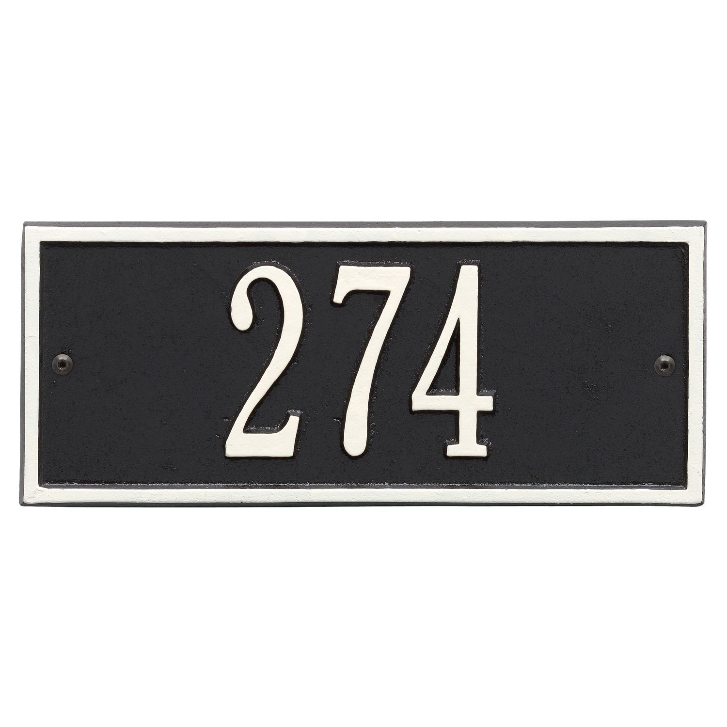 Whitehall Personalized Cast Metal Address Plaque - Small Hartford Custom House Number Sign - 10.5'' x 4.25'' - Allows Special Characters - Black/White