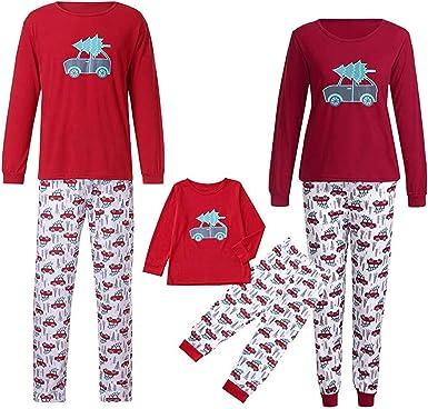 JUNMAONO Conjunto Pijamas Familia Navidad Ropa de Dormir ...