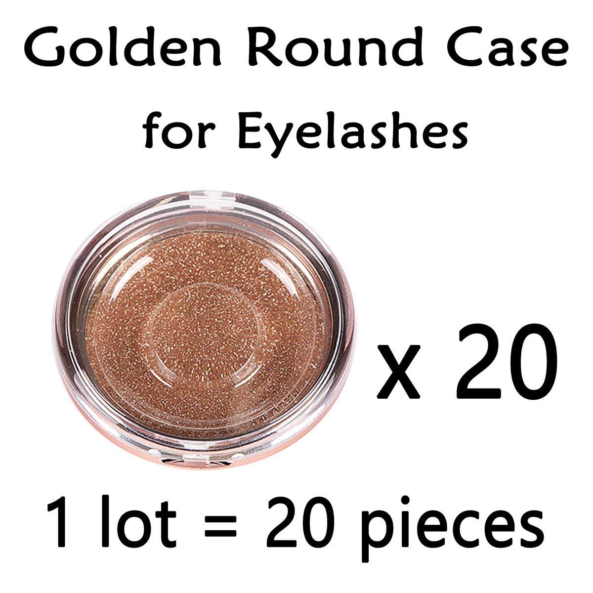 3b70e1af92 Amazon.com : 20pcs Round 1-Pair Eyelash Case (Golden) for Strip False Eyelashes  Cute Cases for Girl Lash Makeup : Beauty