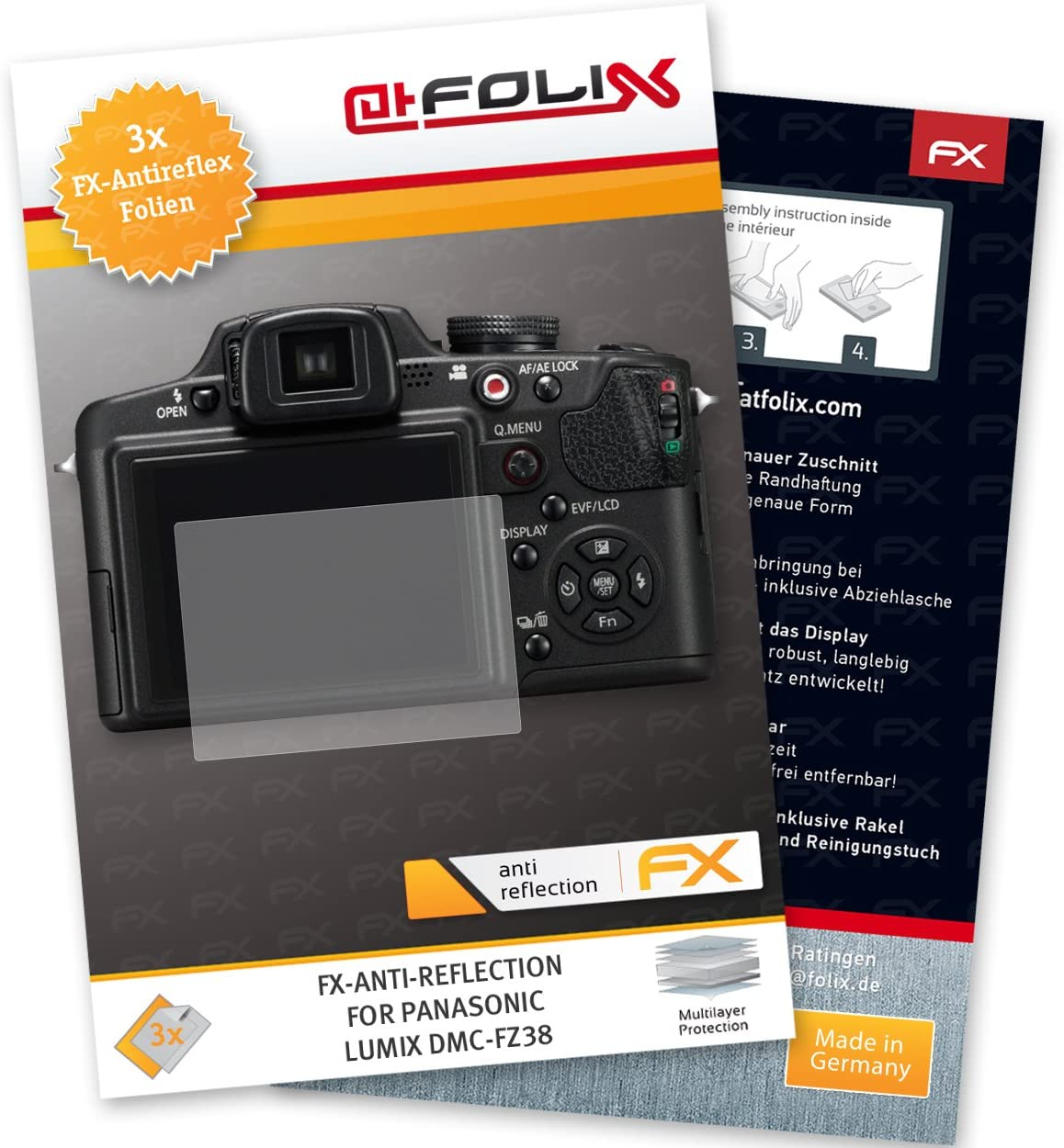 anti-reflective and shock-absorbing FX Protector Film atFoliX Screen Protector compatible with Leica V-Lux 5 Screen Protection Film 3X