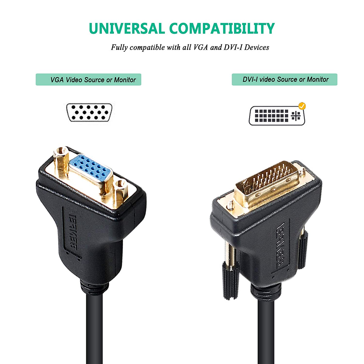 Benfei DVI 24+5 to VGA Male to Female Adapter with Gold Plated Cord DVI-I to VGA Adapter