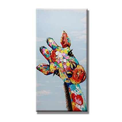 231bf2e72a1d1 FLY SPRAY Framed 1 Panel 100% Hand Painted Oil Paintings Colorful Animal  Cute Giraffe's Head Modern Abstract Painting Canvas Wall Art Home Decor