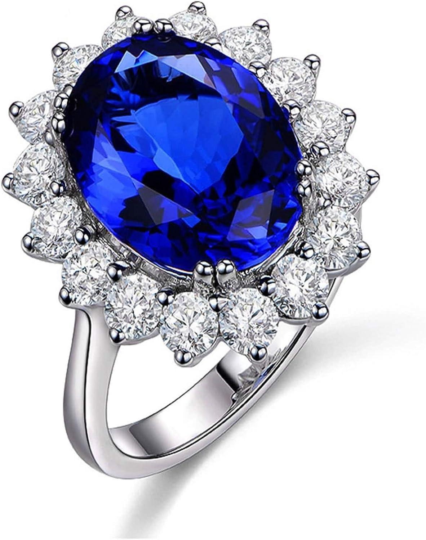 Daesar Anillos de Compromiso Mujer Oro Blanco 18K Anillo Flor con Oval Tanzanita Azul 1.35-6.75ct Diamante Blanco 0.2-0.91ct