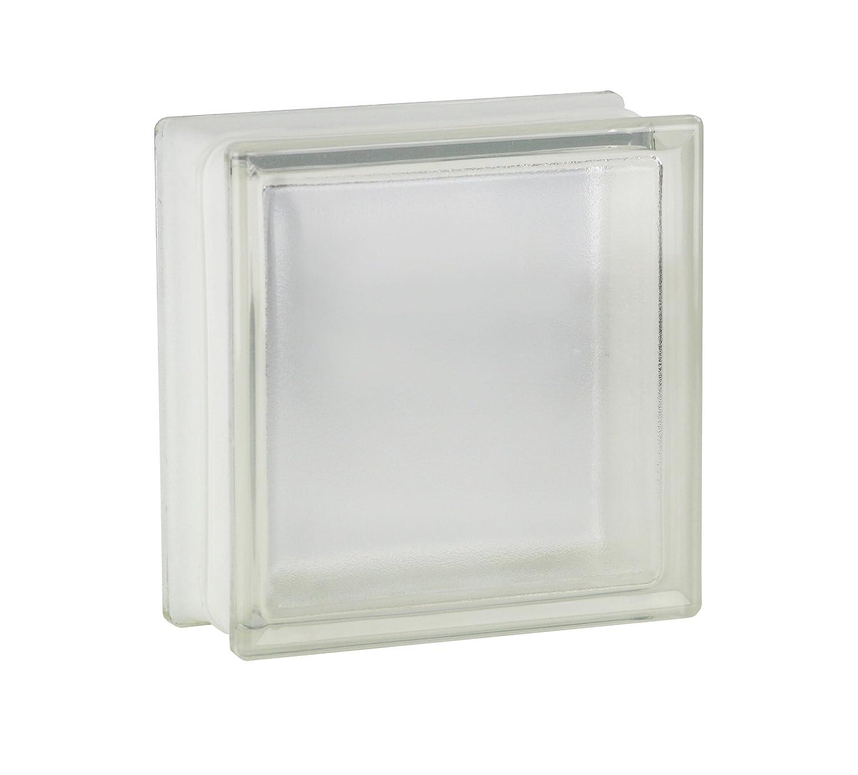 Milchglas 19x19x8 cm 5 St/ück FUCHS Glassteine Riva Wei/ß 1-seitig satiniert