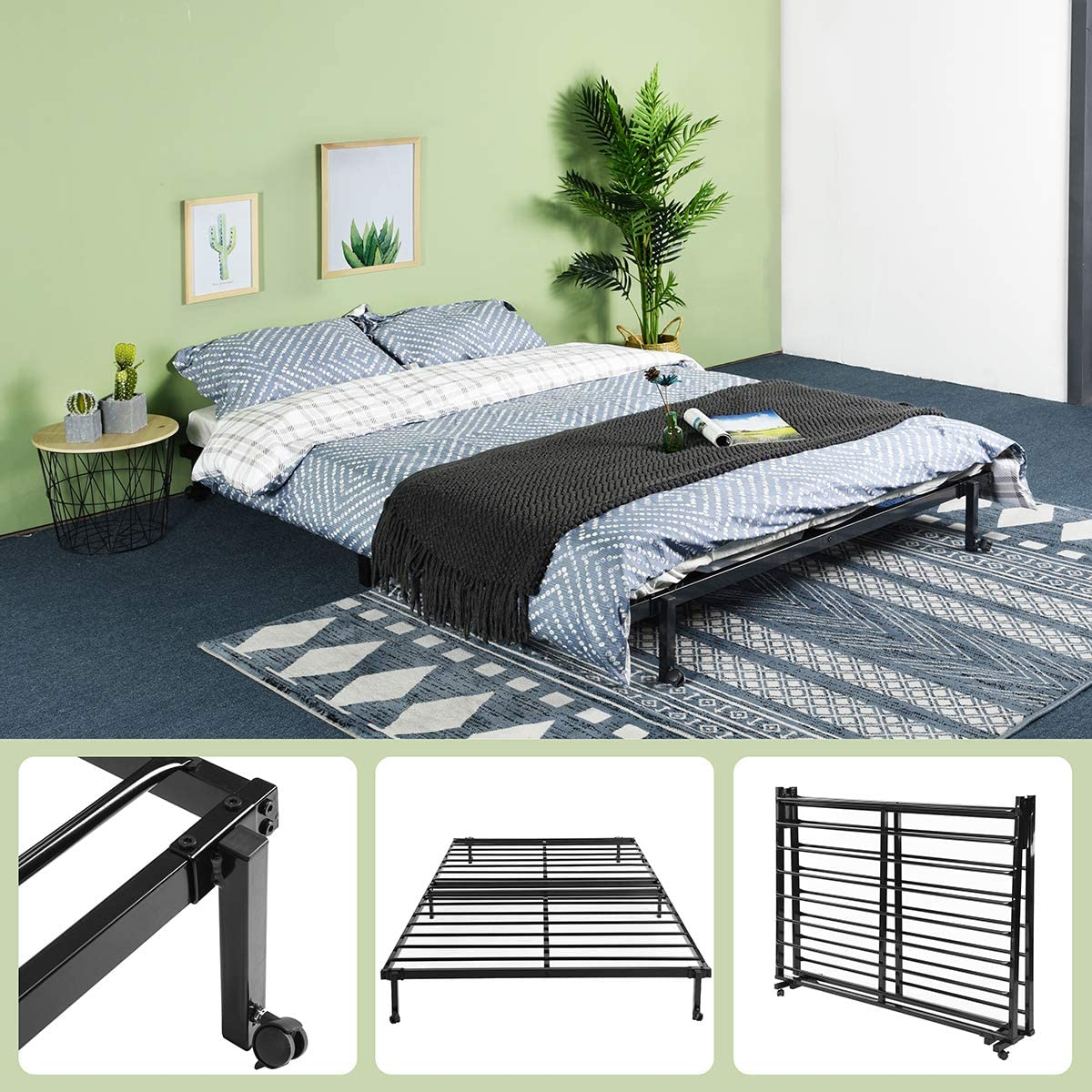 - GreenForest Folding Double Bed Frame Stable Metal Slats Boxspring  Replacement Full Size Platform Mattress Base With Wheels, Black: Amazon.ca:  Home & Kitchen