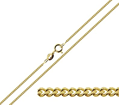 9ct Gold Diamond Cut Pendant Curb Chain Necklace 22 Inch New
