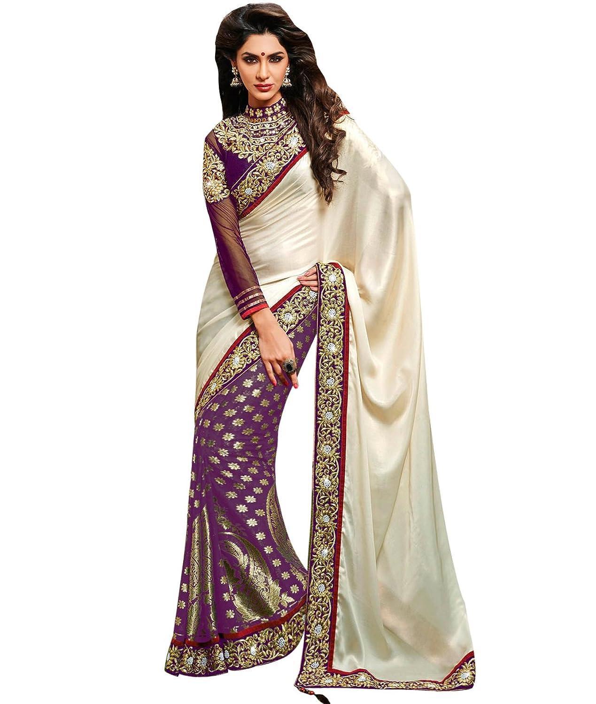 Indian Ethnic Bollywood Wedding Viscose Magenda & Off White Designer Saree