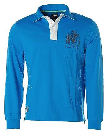 Kitaro Herren Langarm Shirt Poloshirt -Barbados Polo Club- (Malibu Blue, M) a89ebe3874