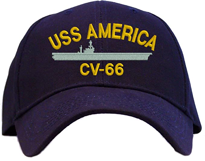 cf34b612 Image Unavailable. Image not available for. Color: USS America CV-66  Embroidered Baseball Cap - Navy