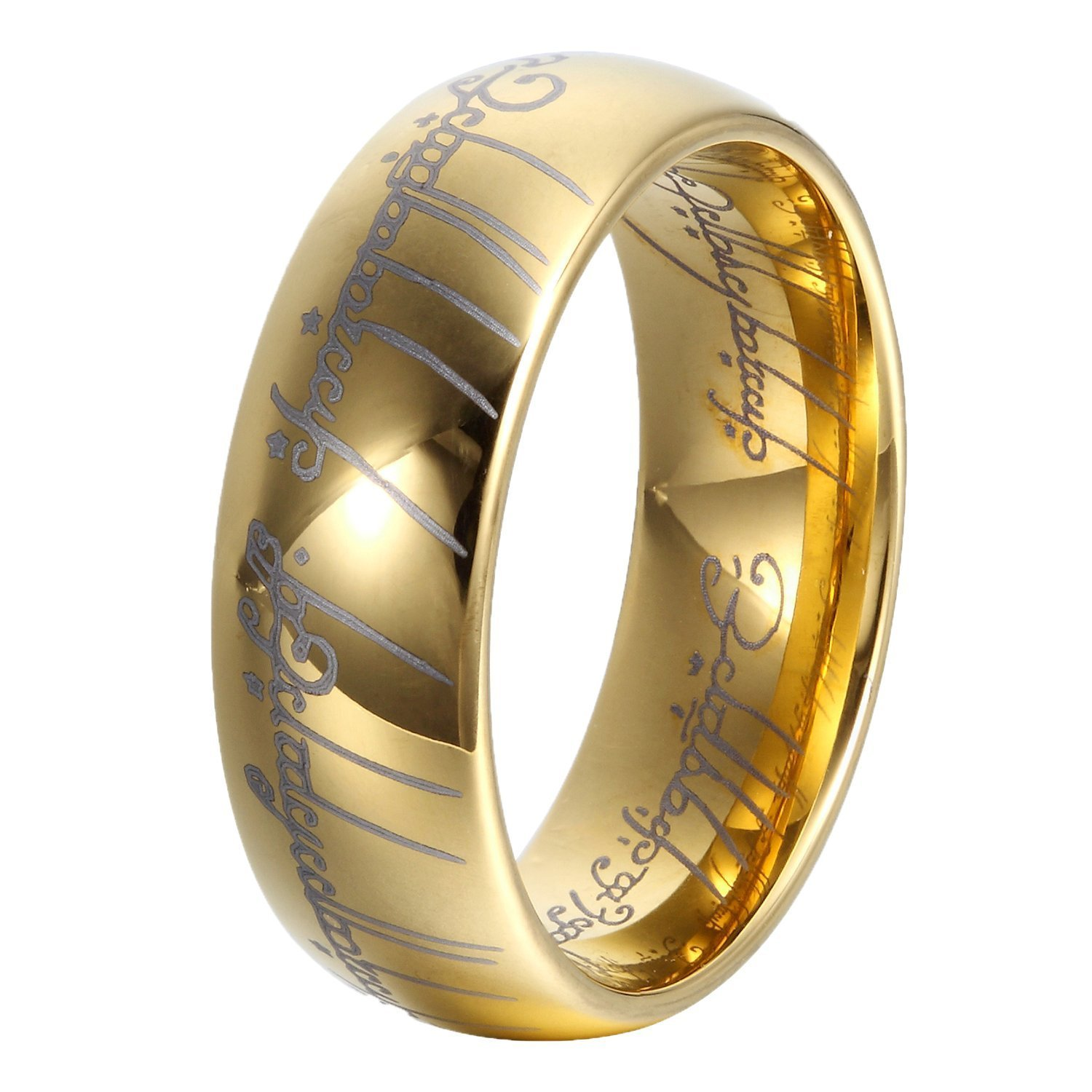LILILEO Jewelry Gold Plated 18k Lord Of The Rings Tungsten Carbide Laser-etched Wedding Ring Band For Unisex Rings by LILILEO
