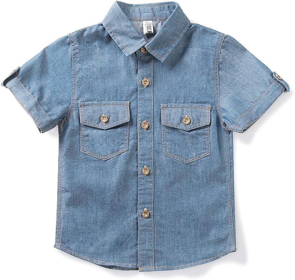 Phorecys - Camisa vaquera ligera de manga corta para niño: Amazon.es: Ropa y accesorios