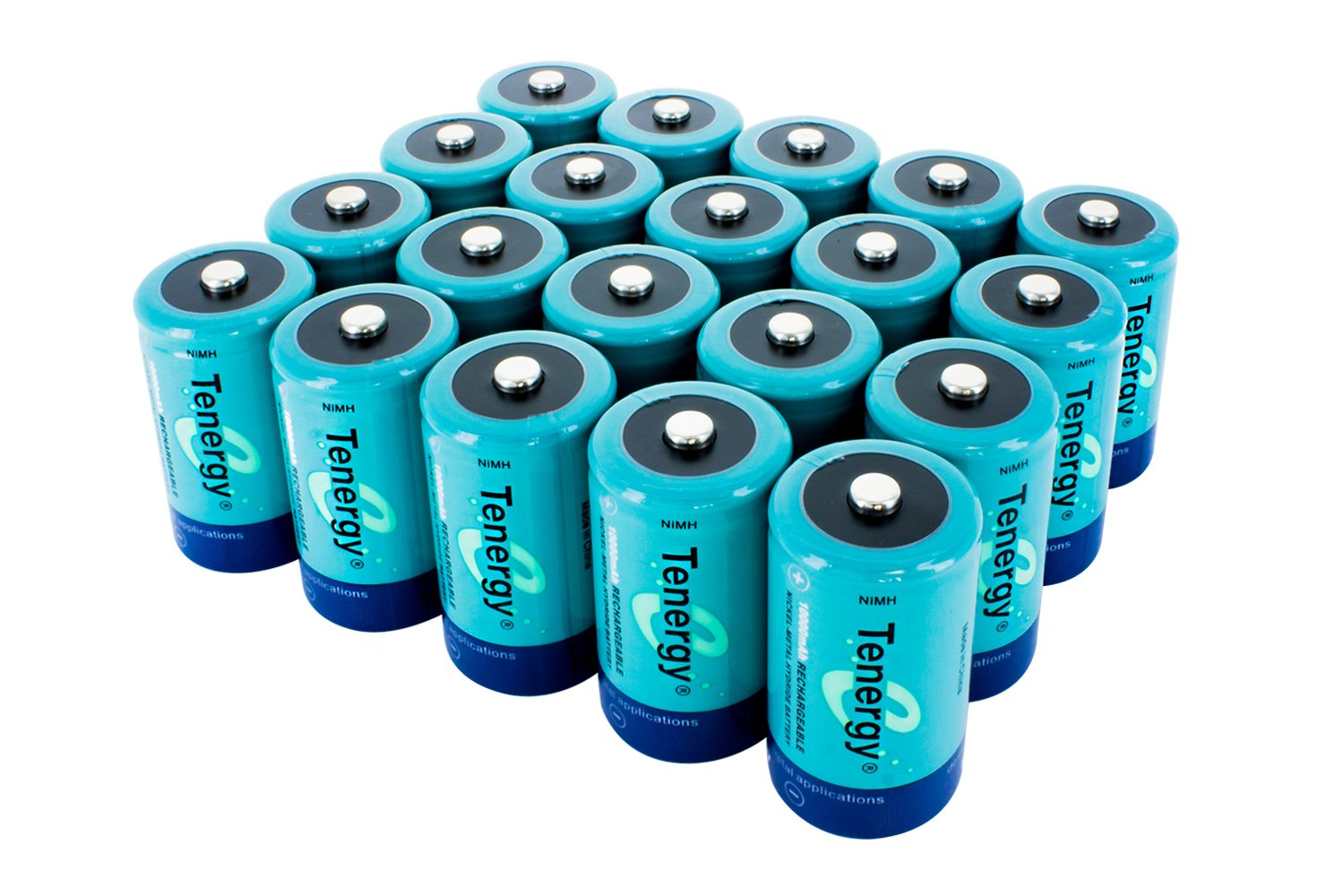 Saving Combo: 20 pcs of Tenergy D Size 10,000mAh High Capacity High Rate NiMH Rechargeable batteries