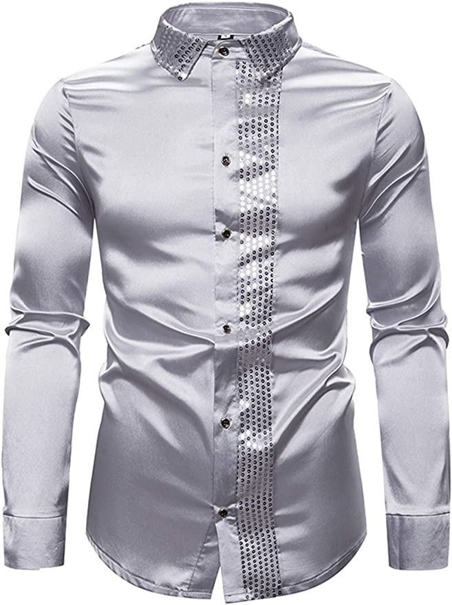 WHATLEES - Camisa de Vestir para Hombre con Lentejuelas, Manga Larga, Botones en los años 70, Disco, Disfraz, Fiesta: Amazon.es: Ropa y accesorios