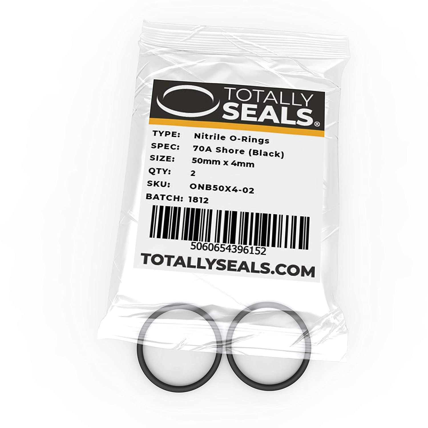 50mm x 4mm (58mm OD) Nitrile Rubber O-Rings 70A Shore Hardness - Pack of 10
