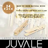 Juvale Wooden Clothespins - 24-Pack Large