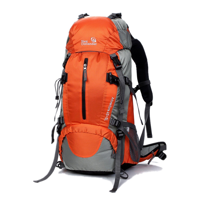 UNISTRENGH 50L(45+5) ハイキングバックパック 防水 内部フレーム バックパッキングバッグ アウトドア スポーツ デイパック レインカバー付き 登山 キャンプ 釣り  オレンジ B0721STM4L