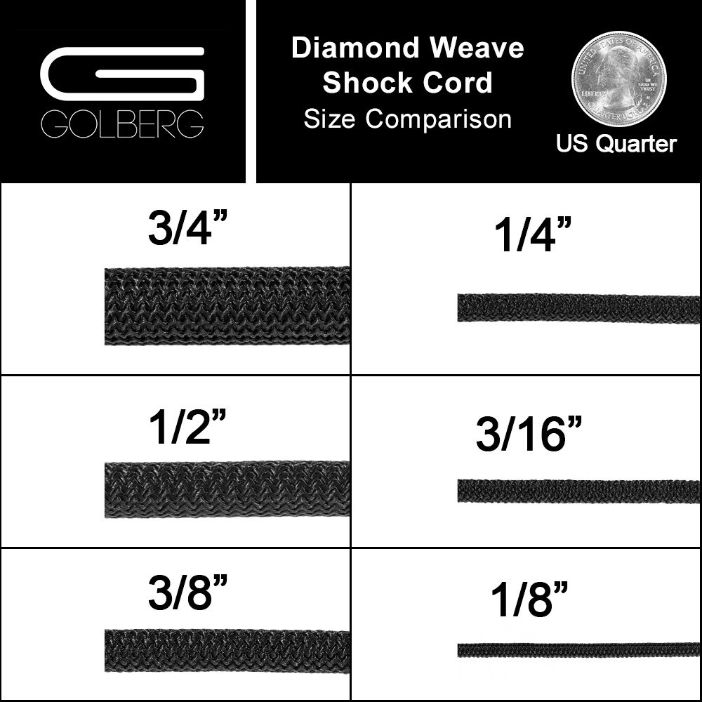 Golberg Black Diamond Weave Shock Cord, Bungee Cord - (1/2 Inch x 500 Feet) by GOLBERG G (Image #3)