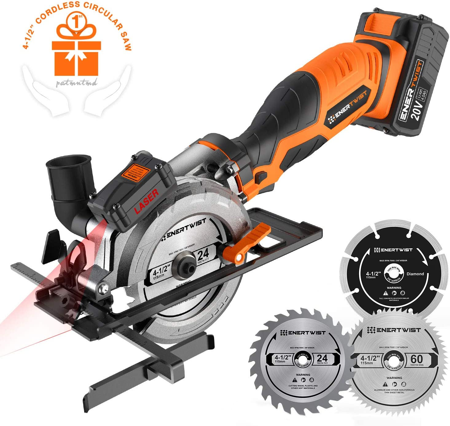 Enertwist 20V Max 4-1 2 Inch Cordless Compact Circular Saw Kit with 4.0Ah Lithium-ion Battery Charger, Vacuum Adaptor, Laser Parallel Guide, 3 Blades for Wood Plastic Metal Tile Cutting, ET-CS-20C