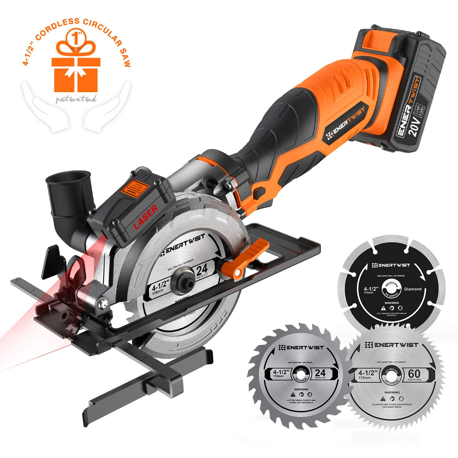 "Enertwist 20V Max 4-1/2"" Cordless Compact Circular Saw Kit with 4.0Ah Lithium-ion Battery & Charger, Vacuum Adaptor, Laser & Parallel Guide, 3 Blades for Wood Soft Metal and Tile Cutting, ET-CS-20C"