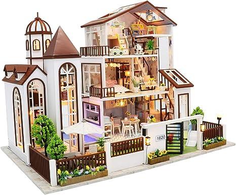 L901Villa3 Luxury Villa English Manual Architecture Model kit Cool Beans Boutique Miniature DIY Dollhouse Kit Wooden Modern Villa with Dust Cover