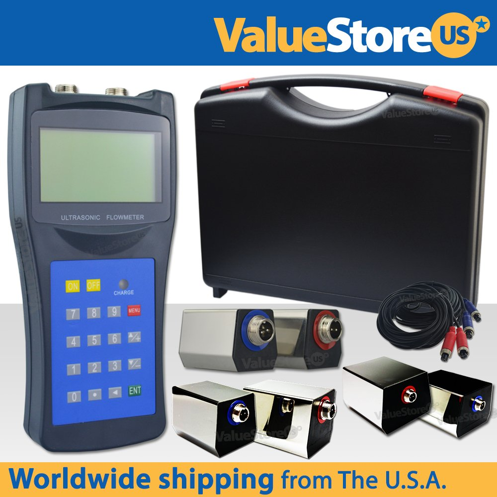 Portable Digital Ultrasonic Flow Meter USF-100 with S & M & L Transducers for Pipes from 0.76 to 236 inch (20 to 6000 mm) & from -40°F to 320°F (-40°C to 160°C).
