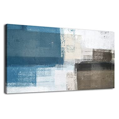 Wall Art Abstract Canvas Painting Picture Modern Vintage Canvas Artwork Long Contemporary Art 20  x 40  for Office Bedroom Living Room Bathroom Kitchen Wall Decor Home Decorations Blue Grey Brown