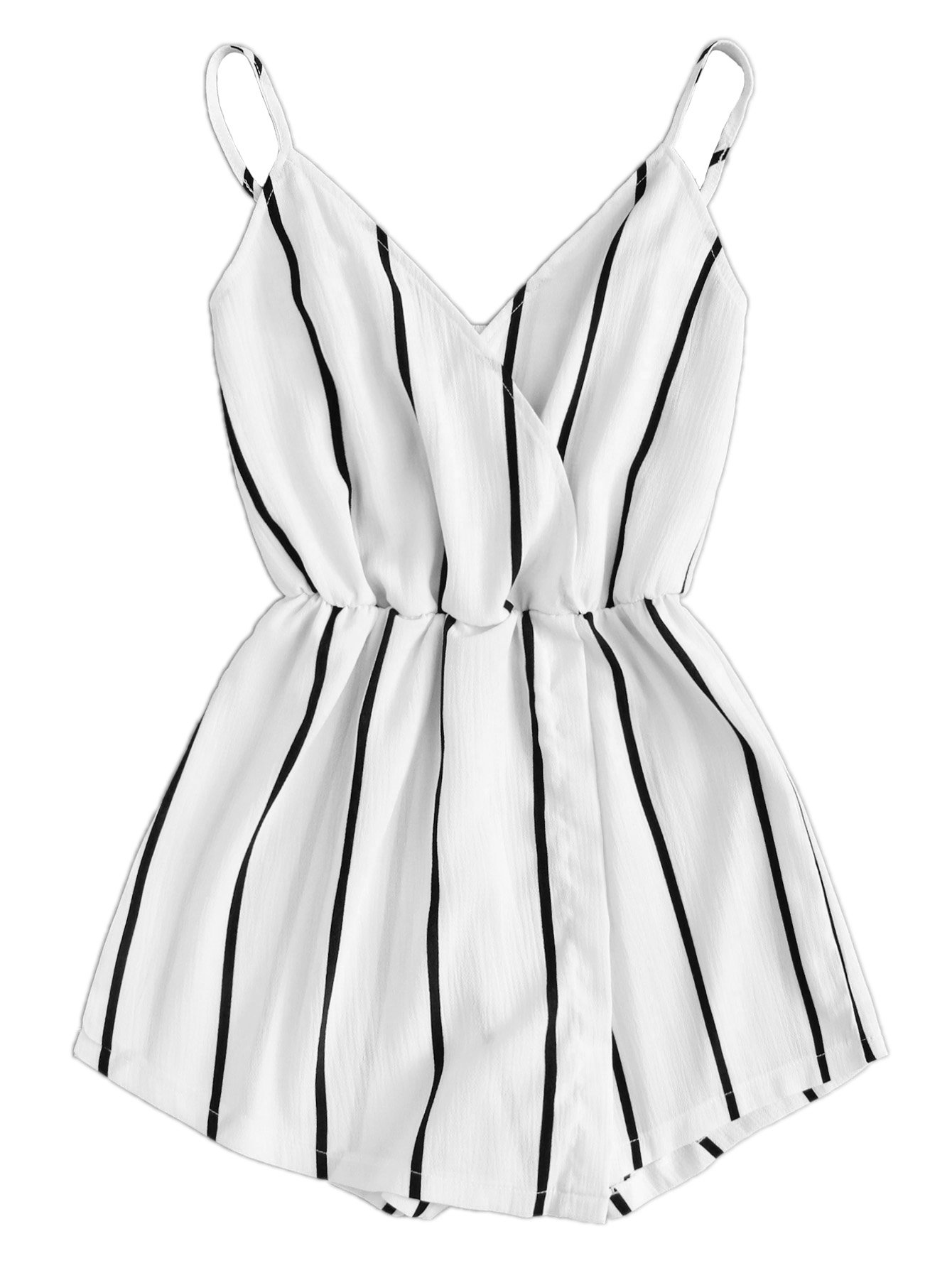 Verdusa Women's Vertical Striped V Neck Wrap Cami Jumpsuit Romper White S